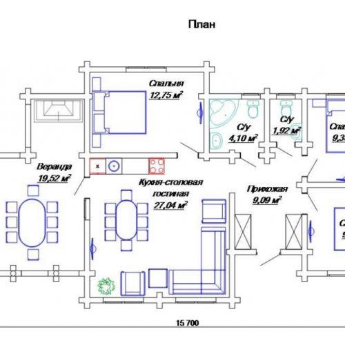 План дома из бревна Аден