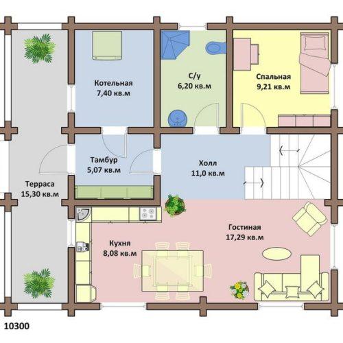 План дома из бревна Авиньон