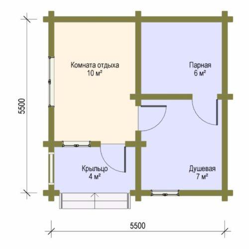 План дома из бревна Базовый