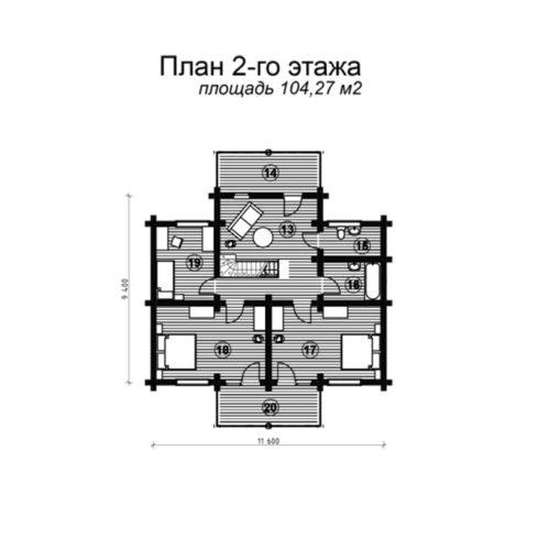 План дома из бревна Беатриса