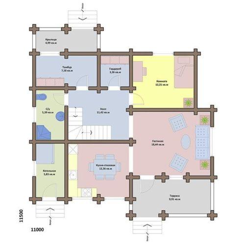 План дома из бревна Велона