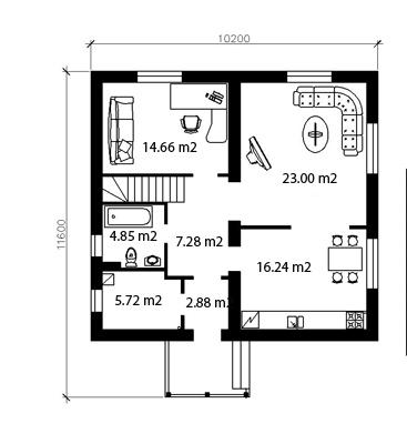 План дома из газобетона Незабываемый