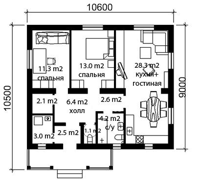 План дома из газобетона Нежный