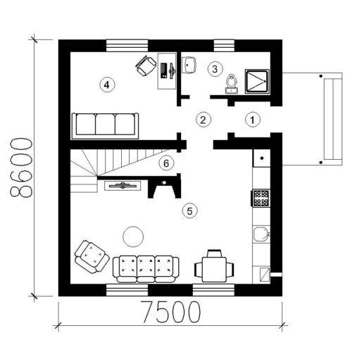 План дома из газобетона Рута