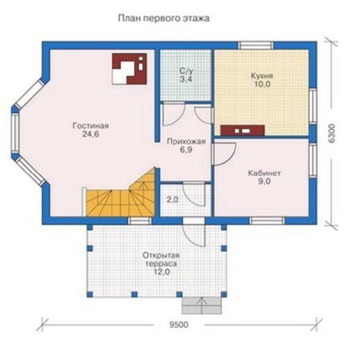 План дома из бруса Градислав