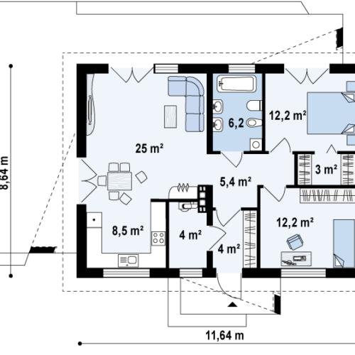 План дома из керамических блоков Кристина