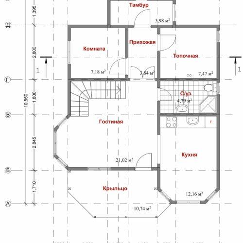 план каркасного дома Лада