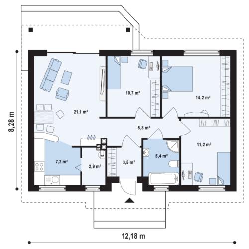 План дома из керамических блоков Ольга