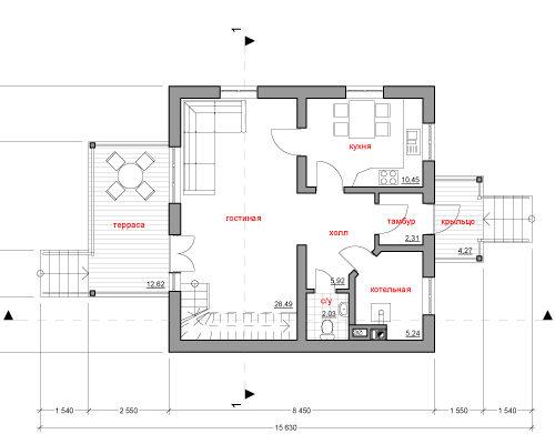 План дома из керамических блоков Рябушка