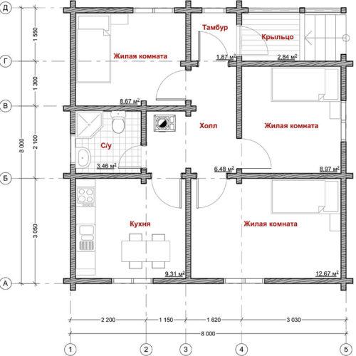 план дома из бруса Сокол