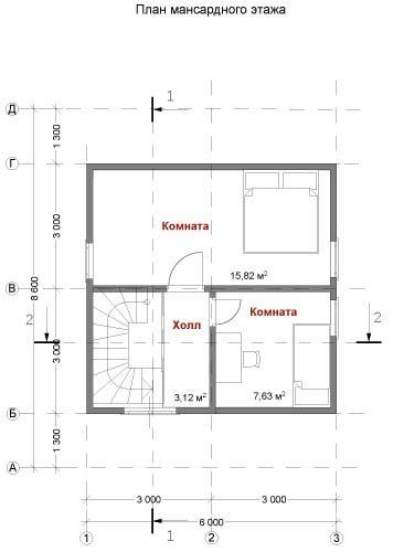 План каркасного дома Кнопка