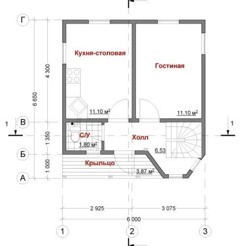 План каркасного дома Протей
