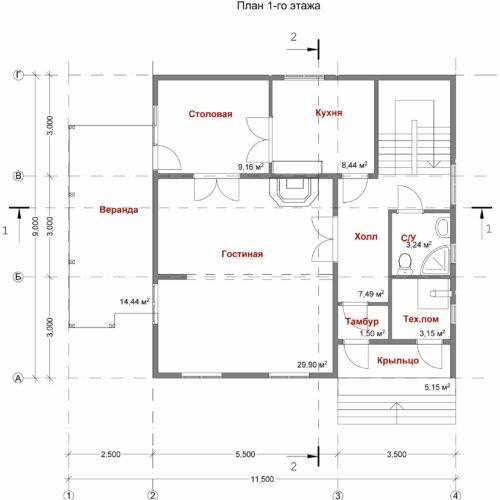 План каркасного дома Офелия-148