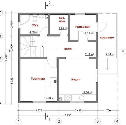 План каркасного дома Пегас-97