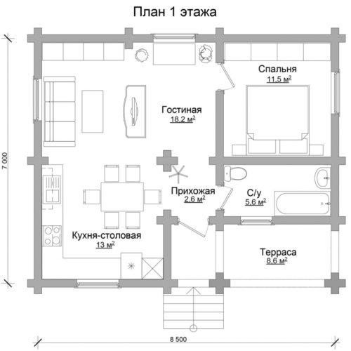 План дома из бревна Морис