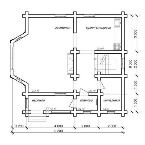 План дома из бревна Гимли