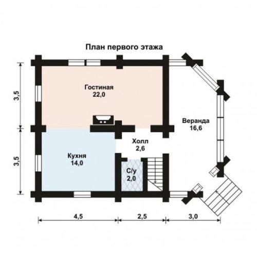 План дома из бревна Ежевика