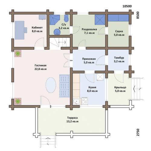 План дома из бревна Сказка
