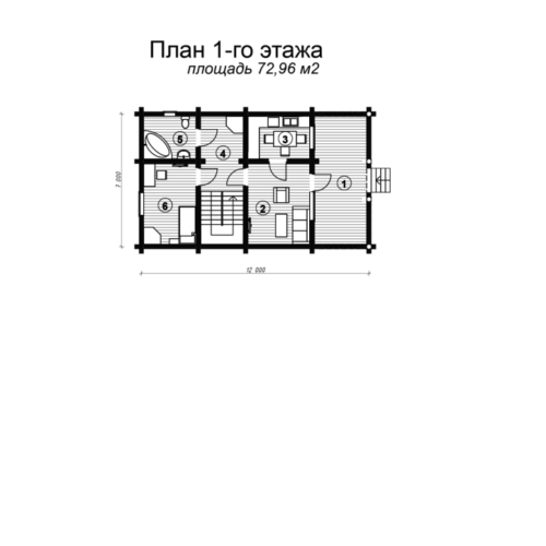План 1 этажа дома из бревна Ладья