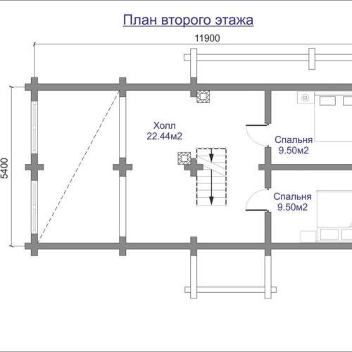 План дома из бревна Садовник