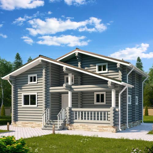 Проект дома из бревна Шале