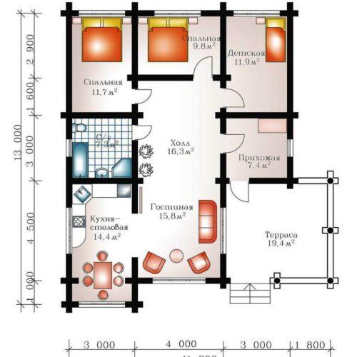 План дома из бревна Сантори