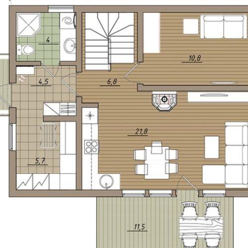 План дома из бруса Фрида