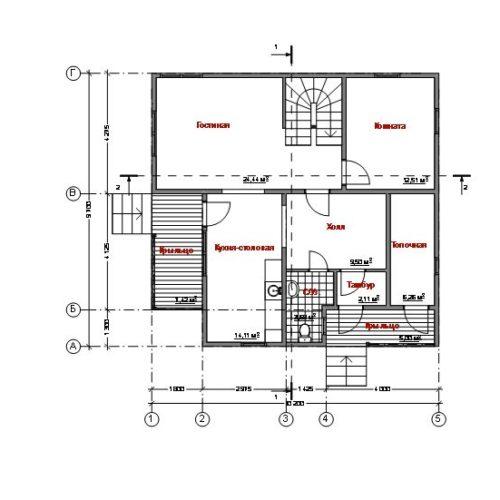 План дома из газобетона Альтаир