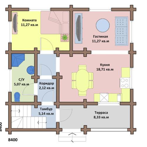 Проект дома из бревна Дачный