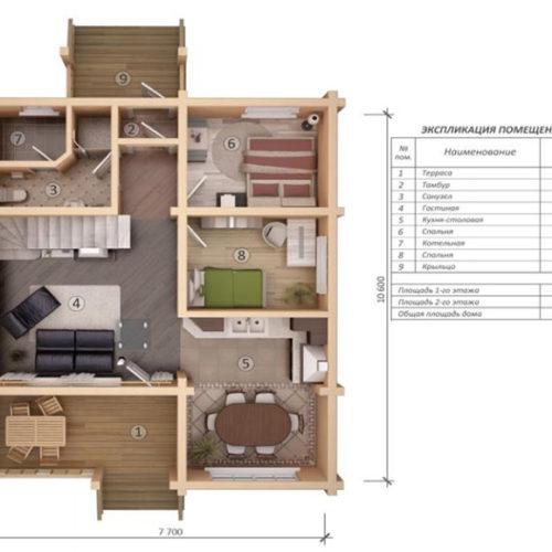План дома из бруса Мигдал