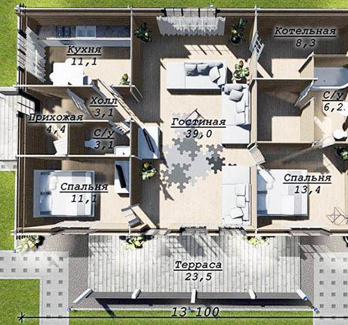 План дома из бруса Уреф