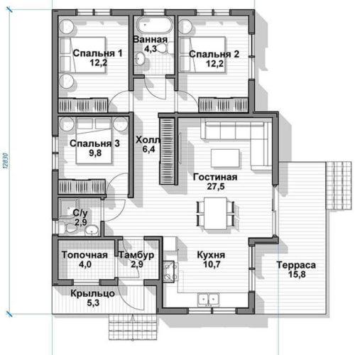 План дома из газобетона Солнечник