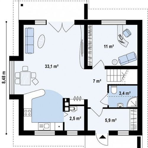 План дома из газобетона Компакт